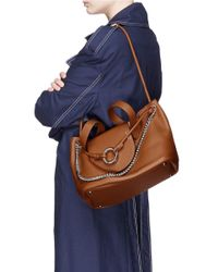 Meli Melo - Brown 'linked Thela' Medium Leather Trapeze Tote - Lyst