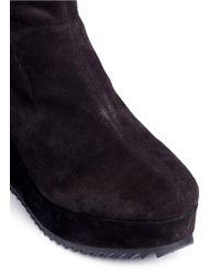 Pedro Garcia - Blue 'urika' Stretch Suede Wedge Boots - Lyst
