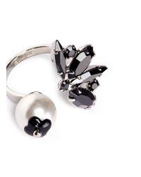 Joomi Lim | Black 'monochrome Chic' Swarovski Crystal And Pearl Open Ring | Lyst