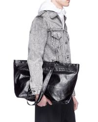 Balenciaga - Black 'carry Shopper' Small Leather Bag for Men - Lyst