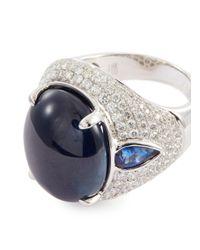 LC COLLECTION - Metallic Diamond Sapphire 18k White Gold Ring - Lyst