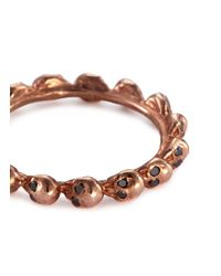 Delfina Delettrez - Metallic Diamond 18k Rose Gold Skull Ring - Lyst