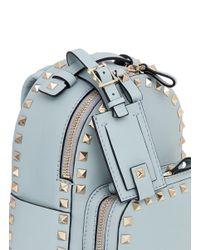 Valentino - Blue Rockstud Mini Leather Backpack - Lyst