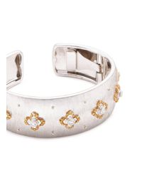 Buccellati - Metallic Diamond Floral 18k White And Yellow Gold Floral Cuff - Lyst
