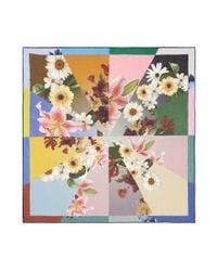 Faliero Sarti - Multicolor 'alba' Colourblock Floral Print Modal-silk Scarf - Lyst