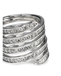 Lynn Ban - Metallic 'pavé Coil' Diamond Sterling Silver Ring - Lyst
