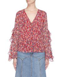 Nicholas - Red Ruffle Sleeve Blossom Print Silk Crepe Blouse - Lyst