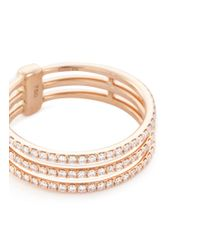 Messika - Metallic 'gatsby 3 Rows' Diamond 18k Rose Gold Ring - Lyst