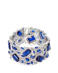 CZ by Kenneth Jay Lane - Blue Cubic Zirconia Openwork Bracelet - Lyst