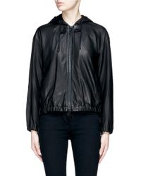 Vince - Black Hooded Lambskin Leather Jacket - Lyst