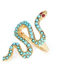 Kenneth Jay Lane - Metallic Embellished Snake Ring - Lyst