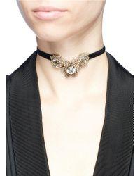 Erickson Beamon - Metallic 'rose Colored Glasses' Swarovski Crystal Velvet Thin Choker - Lyst