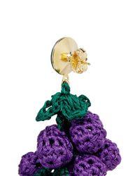 Venessa Arizaga - Purple 'have A Grape Day' Rhinestone Crochet Drop Earrings - Lyst