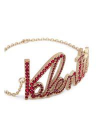 Valentino - Red Pavé Logo Bracelet - Lyst