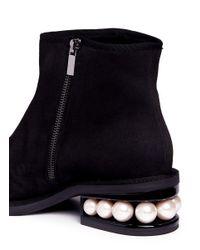 Nicholas Kirkwood - Blue 'casati' Faux Pearl Heel Suede Ankle Boots - Lyst