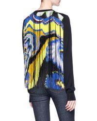 Emilio Pucci - Blue Fringe Back Overlay Virgin Wool Sweater - Lyst