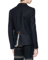 Kolor - Blue Exposed Lapel Fur Trim Melton Blazer for Men - Lyst