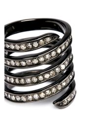 Lynn Ban - Metallic 'pavé Coil' Diamond Black Rhodium Silver Ring - Lyst