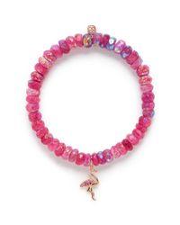 Sydney Evan   Pink Diamond Sapphire 14k Rose Gold Flamingo Charm Gemstone Bead Bracelet   Lyst