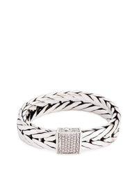 John Hardy | Metallic Diamond Silver Weave Effect Link Chain Bracelet | Lyst