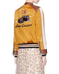 COACH - Multicolor Star Embroidered Colourblock Satin Varsity Racer Jacket - Lyst