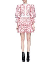 Alexander McQueen | Floral Broderie Anglaise Puff Sleeve Tiered Dress | Lyst