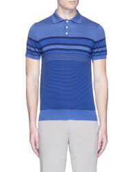 Isaia | Blue Stripe Silk-cotton Knit Polo Shirt for Men | Lyst
