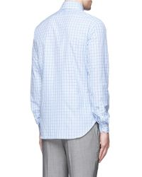 Isaia - White 'como' Check Cotton Poplin Shirt for Men - Lyst