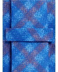 Isaia - Blue Blurred Check Seven Fold Tie for Men - Lyst
