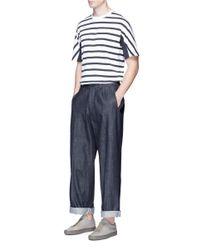 Tomorrowland - Blue Stripe Panel Cotton T-shirt for Men - Lyst
