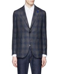 Lardini | Blue Check Plaid Linen-wool-silk Soft Blazer for Men | Lyst