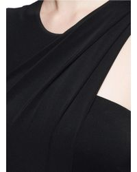 Alexander Wang | Black Asymmetric Drape Crepe Sleeveless Dress | Lyst