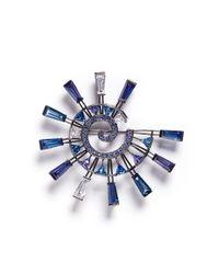 Eddie Borgo - Blue 'europa' Cubic Zirconia Pin Brooch - Lyst
