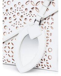 Alaïa - White Patchwork Lasercut Leather Envelope Clutch - Lyst