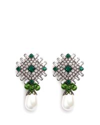 Kenneth Jay Lane | Green Glass Crystal Plate Faux Pearl Drop Clip Earrings | Lyst