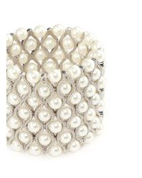 Kenneth Jay Lane - White Glass Pearl Wavy Elastic Bracelet - Lyst