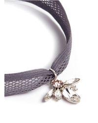 Joomi Lim | Gray Swarovski Crystal Bug Pendant Mesh Choker Necklace | Lyst