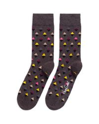 Happy Socks - Gray Mini Diamond Socks for Men - Lyst