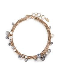 Lanvin | Metallic 'perles' Swarovski Pearl Cluster Chain Necklace | Lyst