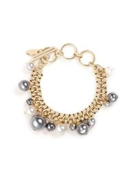Lanvin | Metallic Glass Pearl Chain Bracelet | Lyst