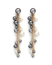 Lanvin | Metallic 'perles' Swarovski Crystal Chain Drop Earrings | Lyst