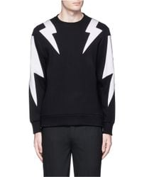 Neil Barrett - Black 'thunderbolt' Print Zip Side Sweatshirt for Men - Lyst