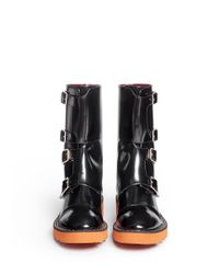 Stella McCartney - Black 'odette' Eco Patent Leather Buckle Boots - Lyst