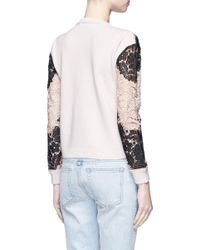 Alice + Olivia - Multicolor 'jesse' Floral Guipure Lace Wool Sweater - Lyst