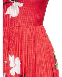 Helen Lee | Red Flying Bunny And Floral Print Silk Dress | Lyst