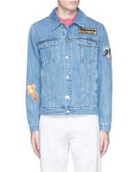 KENZO   Blue Denim Jacket With Patches for Men   Lyst