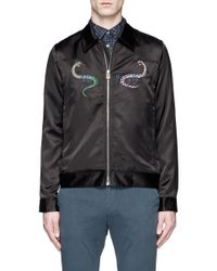PS by Paul Smith Black Snake Graphic Embroidered Blouson Jacket for men