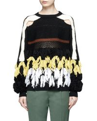 Toga | Multicolor Fringe Cotton Blend Mixed Knit Sweater | Lyst