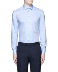 Armani - Blue Contrast Dobby Stripe Cotton Shirt for Men - Lyst
