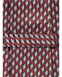 Armani - Red Arrowhead Jacquard Tie for Men - Lyst